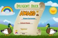 Diligent Duck Award Poster template