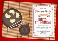 Dim sum birthday party invitation A6 template
