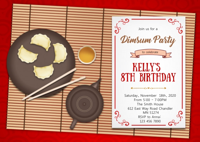 Dim sum birthday party invitation A6 template