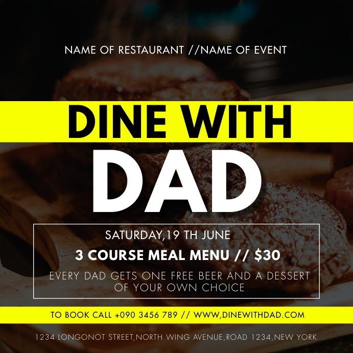 DINE WITH DAD FLYER Instagram 帖子 template
