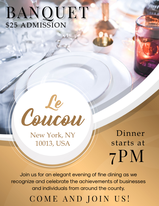 Dinner Banquet Party Invitation Flyer Template