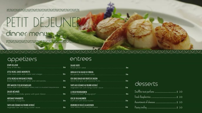 Dinner French menu Video Template