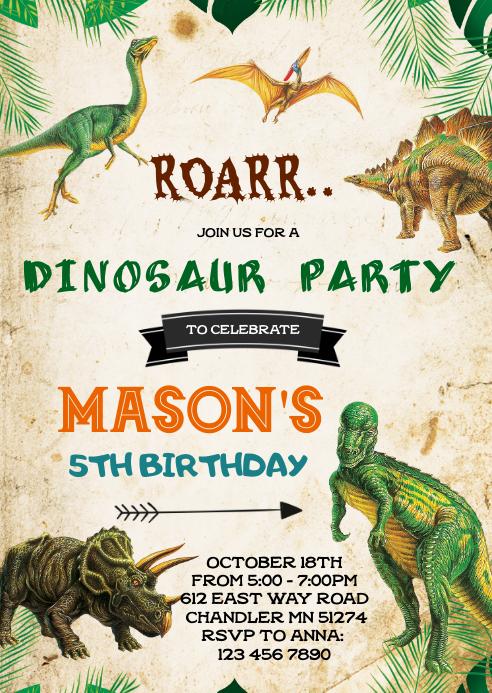 Dinosaur Birthday Invitation Template Postermywall