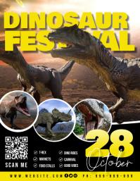 Dinosaur Festival Poster Folheto (US Letter) template