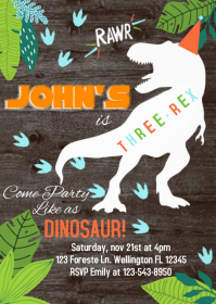 Dinosaur Party Birthday Invitation 04