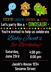 Dinosaur Party Birthday Invitation 05 A6 template