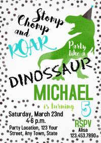 Dinosaur Party Birthday Invitation 07