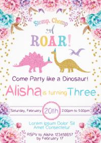 Dinosaur Party Birthday Invitation 09