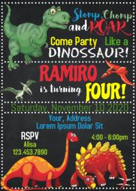 Dinosaur Party Birthday Invitation 10