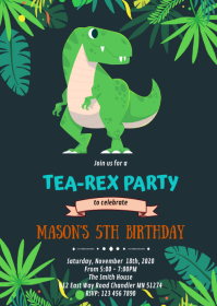 Dinosaur t-rex birthday party invitation A6 template