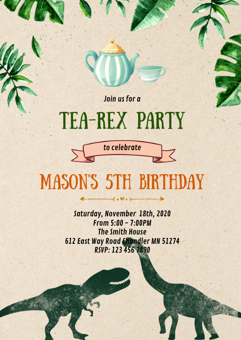 Dinosaur tea birthday party invitation