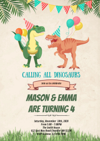Dinosaurs joint birthday card A6 template