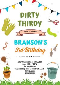 Dirty thirdy birthday theme invitation A6 template