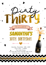 Dirty thirty pink birthday party invitation A6 template