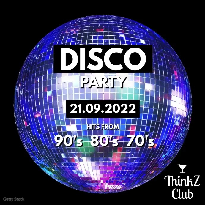 Disco Ball Party 80's 90's 70's Night Club As Instagram Plasing template