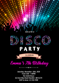 Disco dance birthday theme invitation A6 template