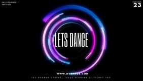 Disco Glow Light Party facebook cover template