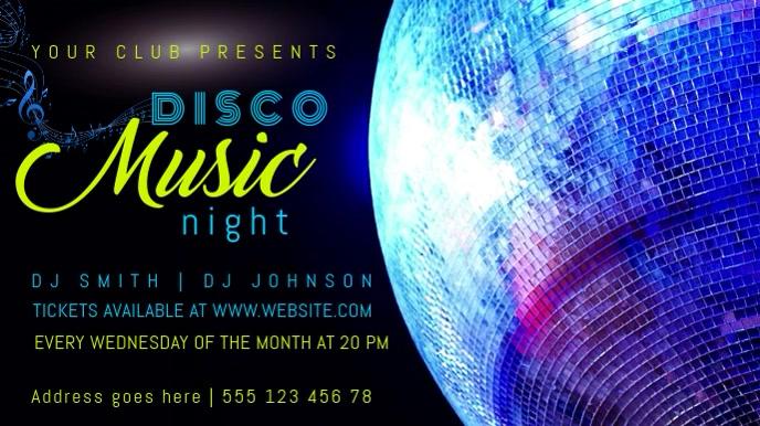 Disco Music Facebook Video Template Digitalt display (16:9)