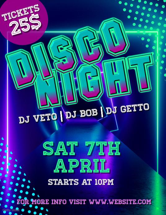 Disco night 传单(美国信函) template