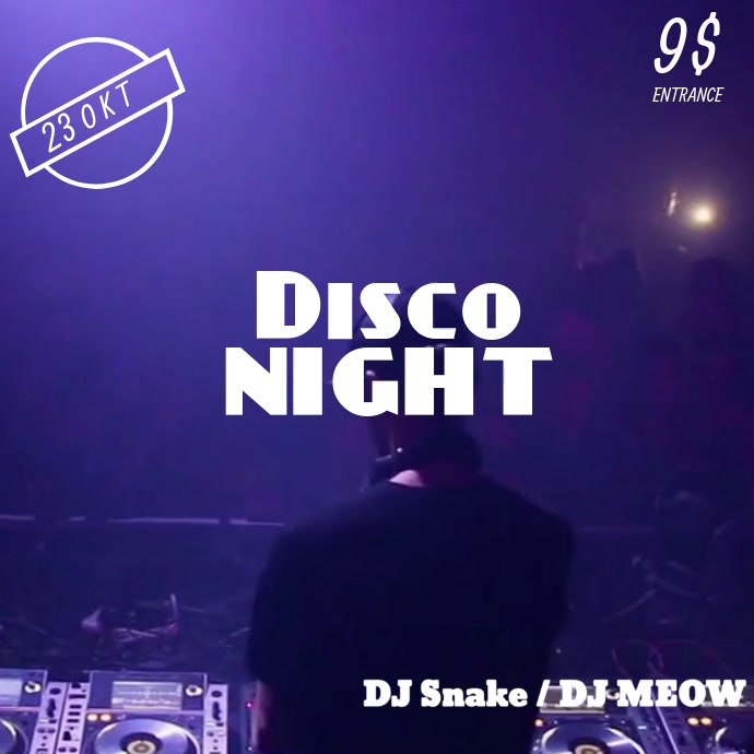 Disco Night Video Instagram Post Template