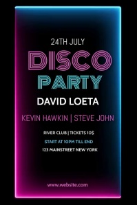 Disco party,music, event,retail,music festiva Poster template