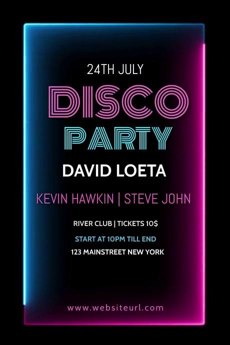 Disco party,music, event,retail,music festiva 海报 template