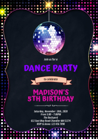 Disco party birthday A6 template