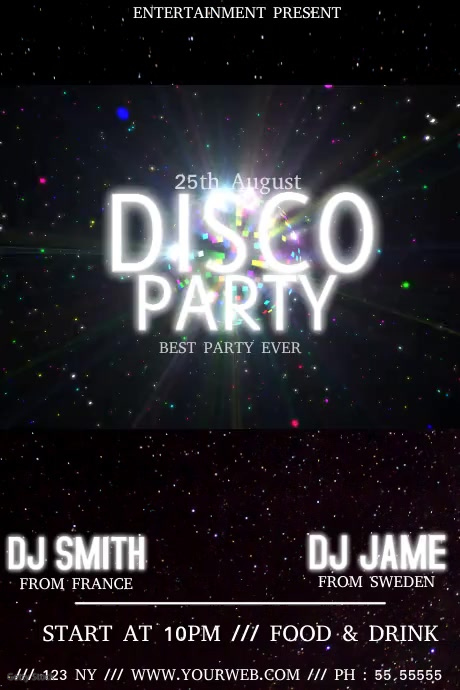 Disco party club video event flyer template