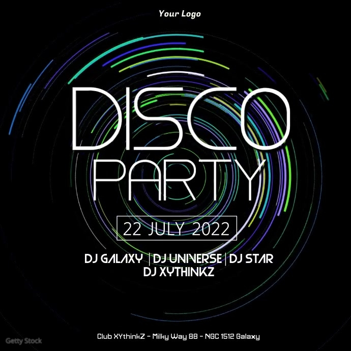 Disco Party Electronic Deep Neon Music Event Party Ad retro