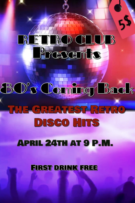 Disco Party Event Plakat template