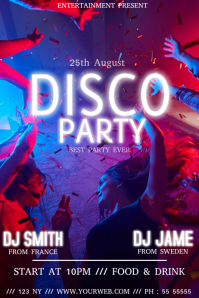 Disco party event flyer template 海报