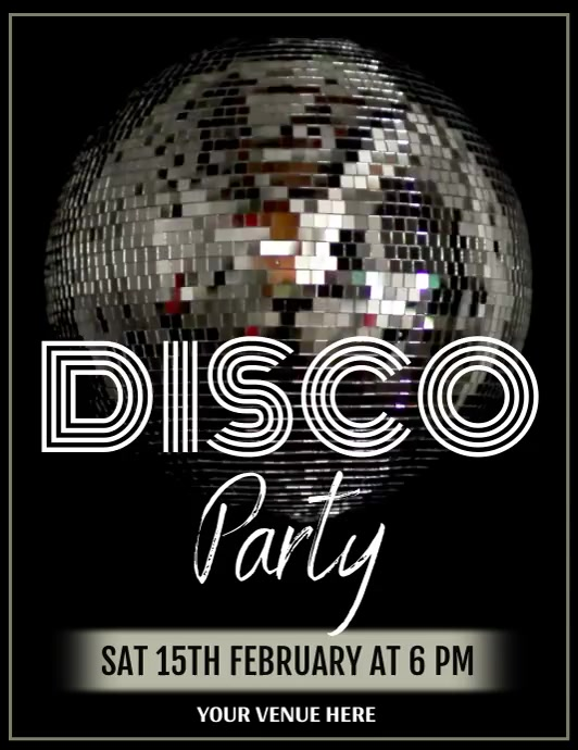 Disco Party Flyer Volante (Carta US) template