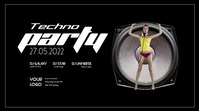 Techno Party Speaker Event Video Sexy Music Electro EDM House Digitalt display (16:9) template