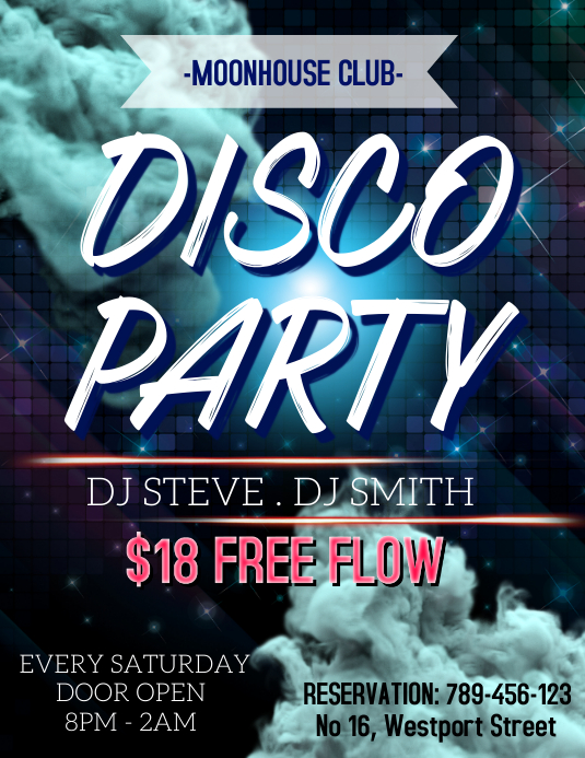 Disco Party Template Pamflet (Letter AS)