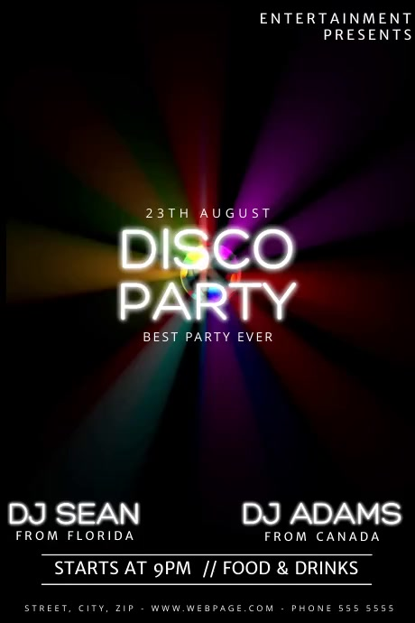 Disco Party Video Flyer Template  Postermywall
