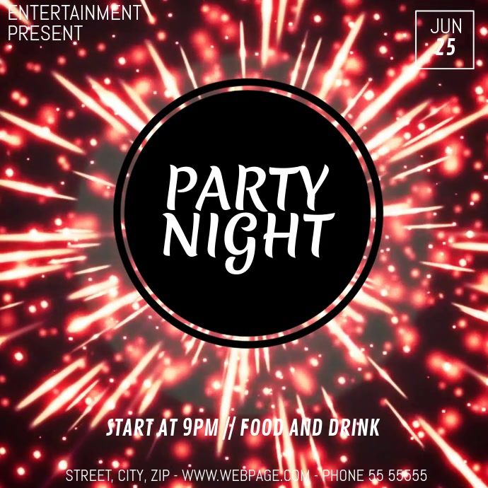 Disco party video flyer template