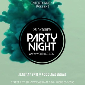 Disco party video flyer template Square (1:1)