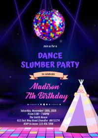 Disco slumber theme invitation A6 template
