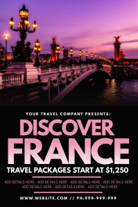 Discover France Poster template