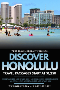 Discover Honolulu Poster template
