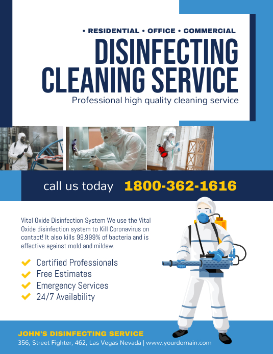Disinfecting Cleaning Service Poster Pamflet (VSA Brief) template