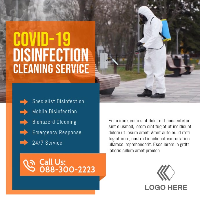 Disinfection cleaning service ad post Instagram Plasing template