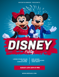 Disney Birthday party theme park flyer design