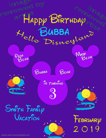 Disney Birthday T-Shirt Iron On Template