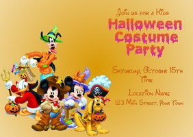 Disney Halloween Postcard Invitation