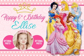 Disney Princess Banner 4' × 6' template