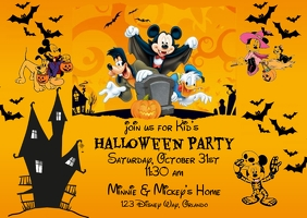 Disney Theme Halloween Invitation Postcard