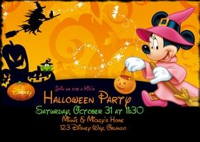 Disney Theme Halloween Invitation Postcard