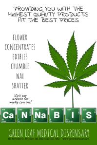 Dispensary Cannabis Marijuana Poster Flyer