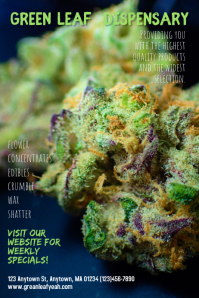 Dispensary Cannabis Marijuana Poster Template Póster